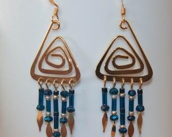 Celtic Fringe Earrings in gold and cobalt blue