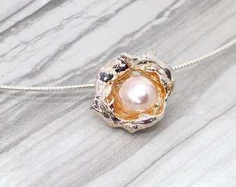 Sterling Silver Shell and Pearl Pendant - Made in Canada