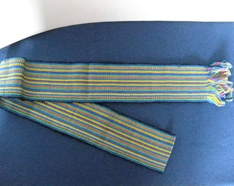Vintage Boho Sash Woven Guatemalan Belt Blue Green Yellow Red Stripe Belt 3x64 inches