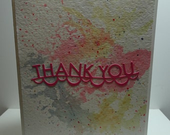 Handmade Watercolor Thank You Card in Pink and Blue