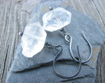 Herkimer Diamond Earrings Oxidized Sterling Silver Herkimer Diamond Quartz Antiqued 925 Sterling Silver Jewelry