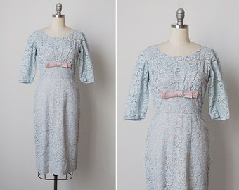 vintage 1950s dress / blue lace dress / 1950s Norman dress / Madrigal dress