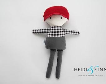 NEW Mini Pals soft rag doll keepsake gift OOAK ready to ship hipster boy plaid hat modern