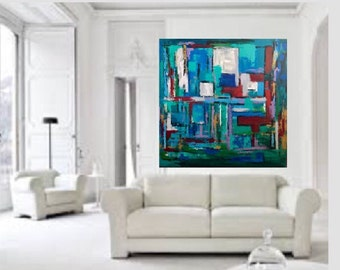 Abstract Extra Large Huge Abstract Original Acrylic Painting on 48 w x 48 h x 1.25 Gallery Wrapped Ready to Ship