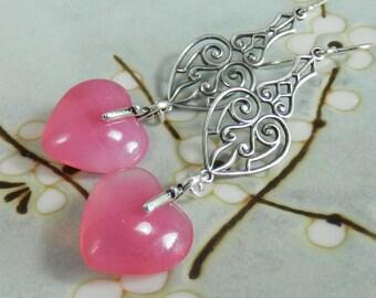 Deep Pink Opal Heart, Filigree and Sterling Silver Earrings