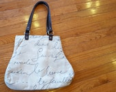 Waverly Penpal French Script Fabric Handbag Brown Ecru Beige Tan