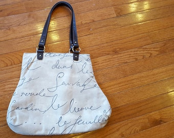 Waverly Penpal French Script Fabric Handbag Brown Ecru Beige Tan