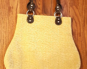 Gold Brown Fabric Handbag Elegant Bag Recycled Handles