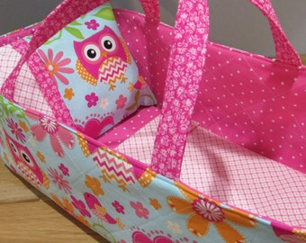 Doll Carrier, Will Fit Bitty Baby and Stella Dolls, Bird and Owl, 16 Inches Long
