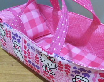 Doll Carrier, Hello Kitty Fabric with Pink Polka Dot Lining, Doll Basket, 14 Inches Long
