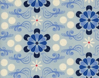 Diner in blue from the S.S. Bluebird 2016 / 2017 fabric collection by Cotton and Steel  - 5098-01