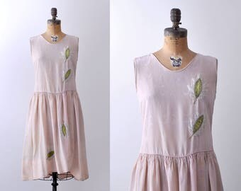 1920's pink dress. moire. 20's silk dress. embroidered green. light pink. small