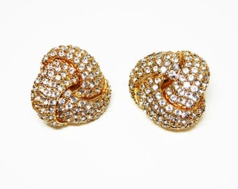 Ciner Rhinestone Earrings - Clear Rhinestones in Gold Tone Clip on Settings - Square Knots - Vintage 1960's Designer Signed
