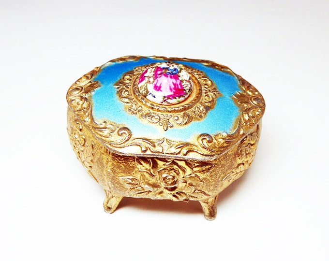 Vintage Jewelry Casket - Trinket Box - Goldtone w Red Lining - Embossed Roses - Glass Cabochon of Garden Courtship - Victorian Style - 1950s
