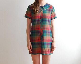 vintage 70's plaid school girl dress