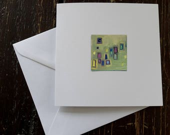 Original miniature abstract oil painting on greeting card