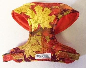 Metallic Fall Leaf Comfort Soft Dog Harness - Made to Order -
