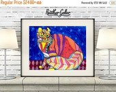 50% Off Today- American Curl Cat Art  Poster Print of  Painting  by Heather Galler (HG119)