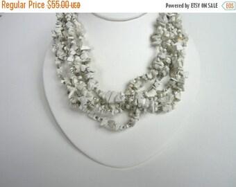 On Sale Sterling SIlver Bib Stone Necklace. Summer White Stone Neckace