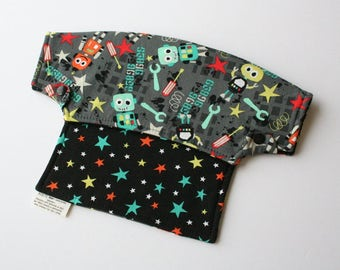 Baby Carrier Drool Bib - Lil Robots and Atomic Stars (Fits LÍLLÉbaby Carriers) - Ready to Ship!