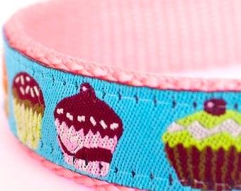 Colorful Cupcakes Dog Collar, Teal Ribbon Pet Collar, Girl Dog Collar, Muffins, Adjustable Pet Collar