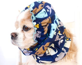 Whales Dog Snood, Cotton Long Ear Coverup, Cavalier King Charles or Cocker Snood