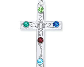 Custom-Made Family 1 to 5 Birthstone Cross Pendant, 925 Sterling Silver, Mother's Day Gift Idea, Flower Cross, Grandmother's Silver Pendant