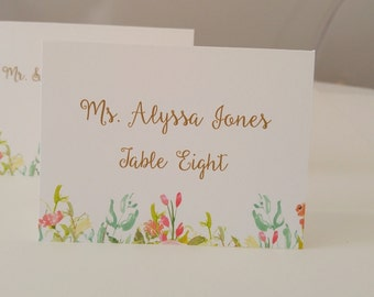 Wedding Place Cards with Guest Names and Seating Asignment Elegant Water Color Rose Tented Place Cards