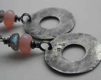 Sterling Silver Earrings Labradorite Earrings Pink Opal Gemstone Drop, Handcrafted Oxidized Silver Disc Oxidised Medallions U.K