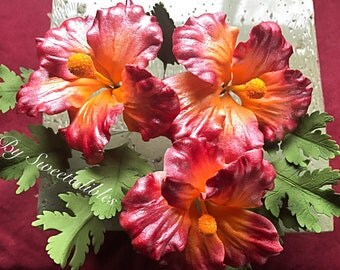 Gum Paste Hawaiian Hibiscus Flower Cake Decorations Red Gumpaste