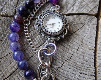 Bracelet Watch, Watches for Women, Watch Bracelet, Beaded Watch, Beaded Watch Band, Boho Watch, Womens Watches, Gifts for Women, Amethyst