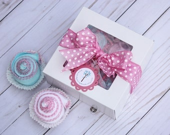 Baby girl burp cloths, Baby girl shower gift idea, Baby essentials, Baby shower gift, pink and turquoise, baby gift set, baby cupcakes