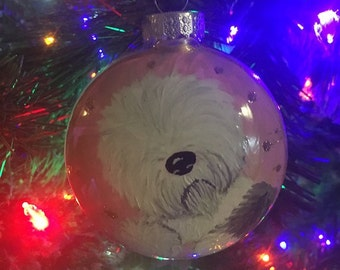 Hand Painted Old English Sheepdog Ornament
