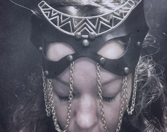 Black Leather Chain and Crescent Moon Mask
