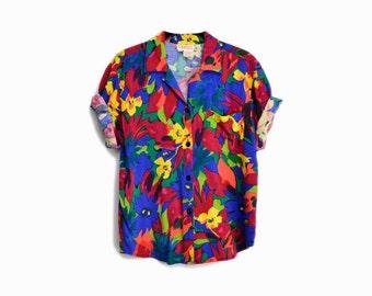 Vintage 90s Floral Print Hawaiian Shirt / Party Shirt - women's medium
