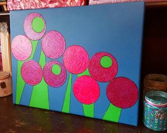 Acrylic Flower Canvas, Glitter, Acrylic, Paint, Colourful, Modern Art, Abstract