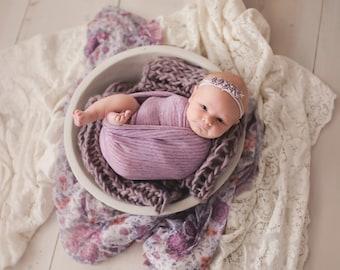 Purple cluster stretch tie back Headband