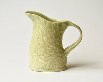 Celadon Pitcher with Australian Flannel Flowers