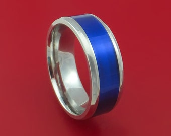 Titanium Ring with Blue Inlay Custom Made Band Choose Color