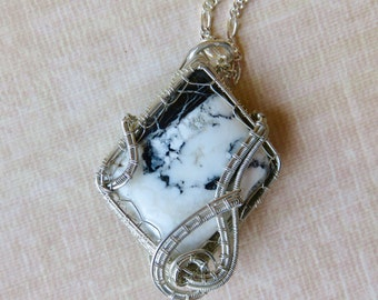 White Buffalo Turquoise Necklace - Wire Wrapped Stone Necklace - Silver Wire Necklace - Mother's Day Gift Idea