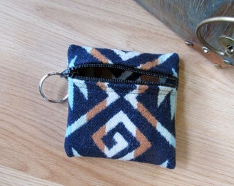 Medicine Bag, Keychain, Coin, Zipper Change Purse, Gift Card Holder Southwest Coyote Butte Leather Lace or Beads 4 x 4