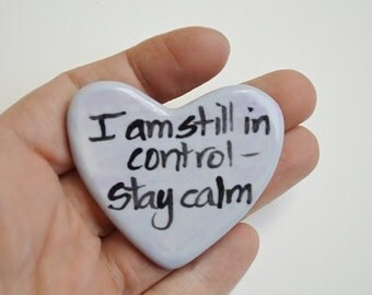 I Am Still in Control Ceramic Clay Prayer Heart Periwinkle