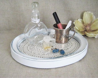 Shabby Upcycled Vanity Tray Set / Vintage Doily Tray, Perfume Bottle and Shabby Silver Cup / Cottage Chic Dresser Set/Vanity Set