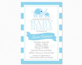 Boy Elephant Baby Shower Invitation, Elephant Baby Shower Invitation, Blue, Gray, Personalized, Printable Invitation