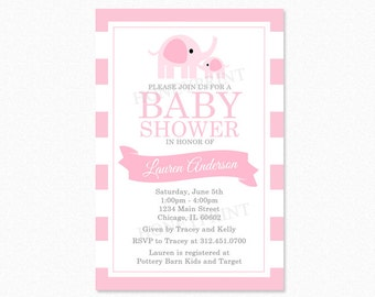 Girl Elephant Baby Shower Invitation, Elephant Baby Shower Invitation, Pink, Gray, Personalized, Printed and Printable Available