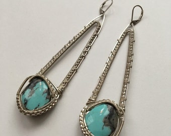Druid Earrings in Turquoise & Sterling Silver