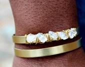 Herkimer Diamond Bracelet Quartz Bracelet Herkimer Cuff Bracelet Layering Bracelet Gift for Woman Wire Wrapped Jewelry Bracelet