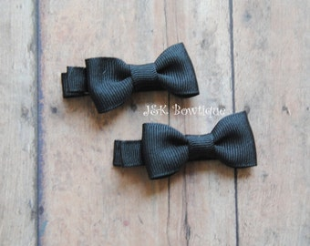 Black small hair bows, hair clips, toddler hair bows, baby hair clips, girls hair bows, small hair bows, baby hair bows, bow set