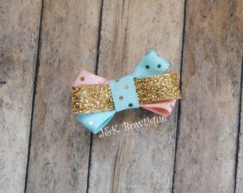 Tiny hair bow, itty bitty hair clip, pink and aqua with gold polka dots, baby hair bows
