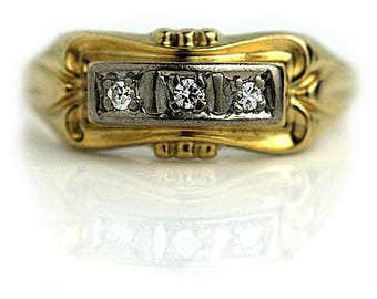 Antique Band Vintage Wedding Band .10ctw 14K Two Tone European cut Diamond Antique Wedding Band Vintage Wedding Ring 1900s Antique Ring!